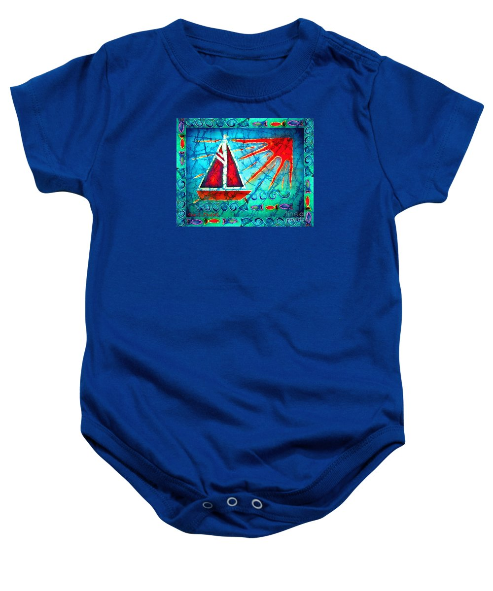 Sailboat Baby Onesie featuring the painting Sailboat In The Sun by Sue Duda