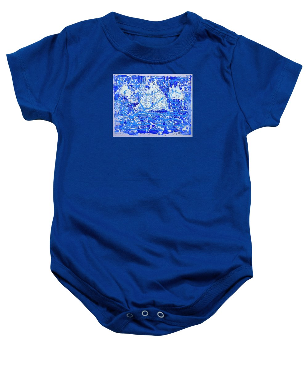 Sailing Baby Onesie featuring the painting Sailing With Friends by J R Seymour