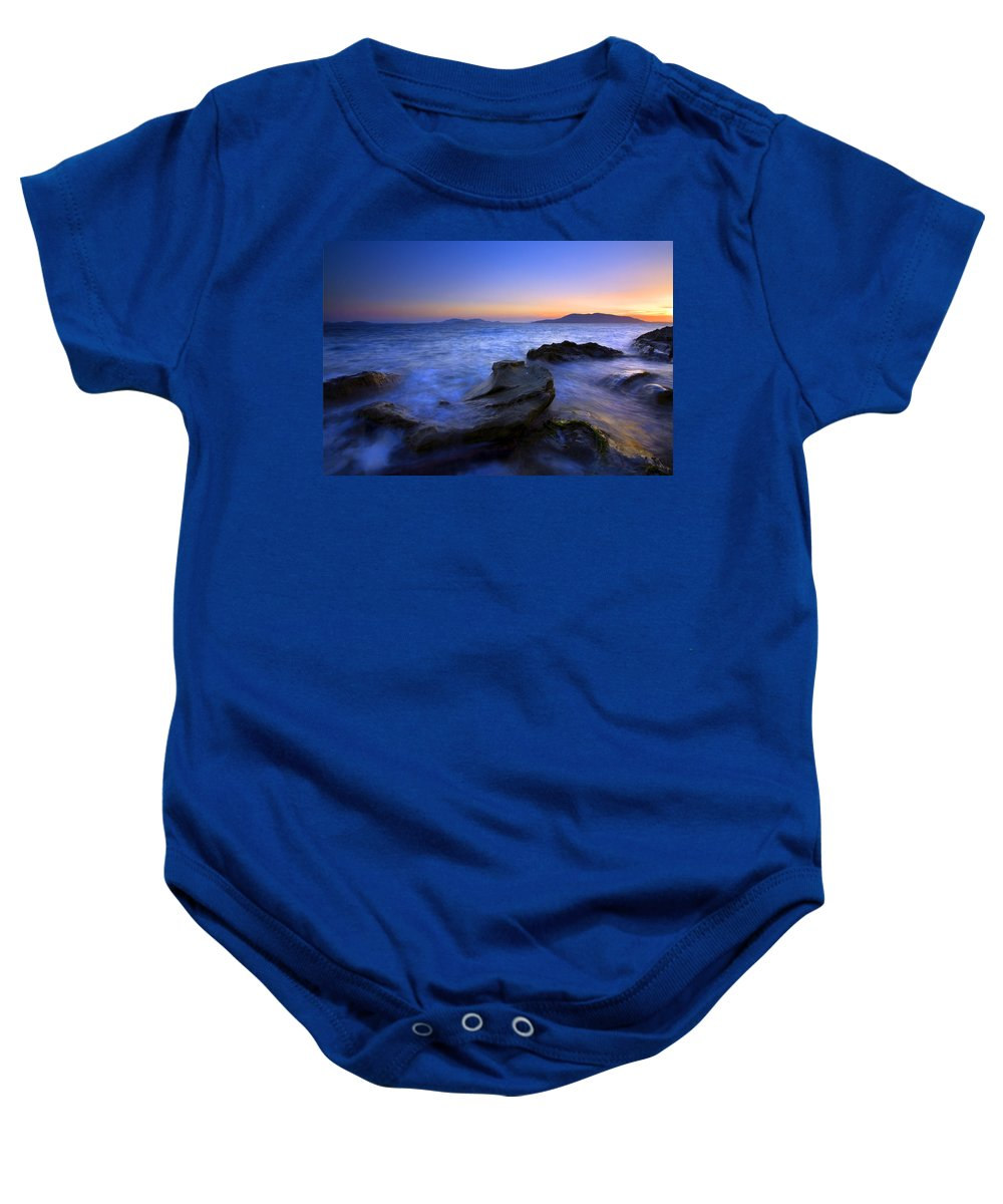 Sunset Baby Onesie featuring the photograph San Juan Sunset by Mike Dawson