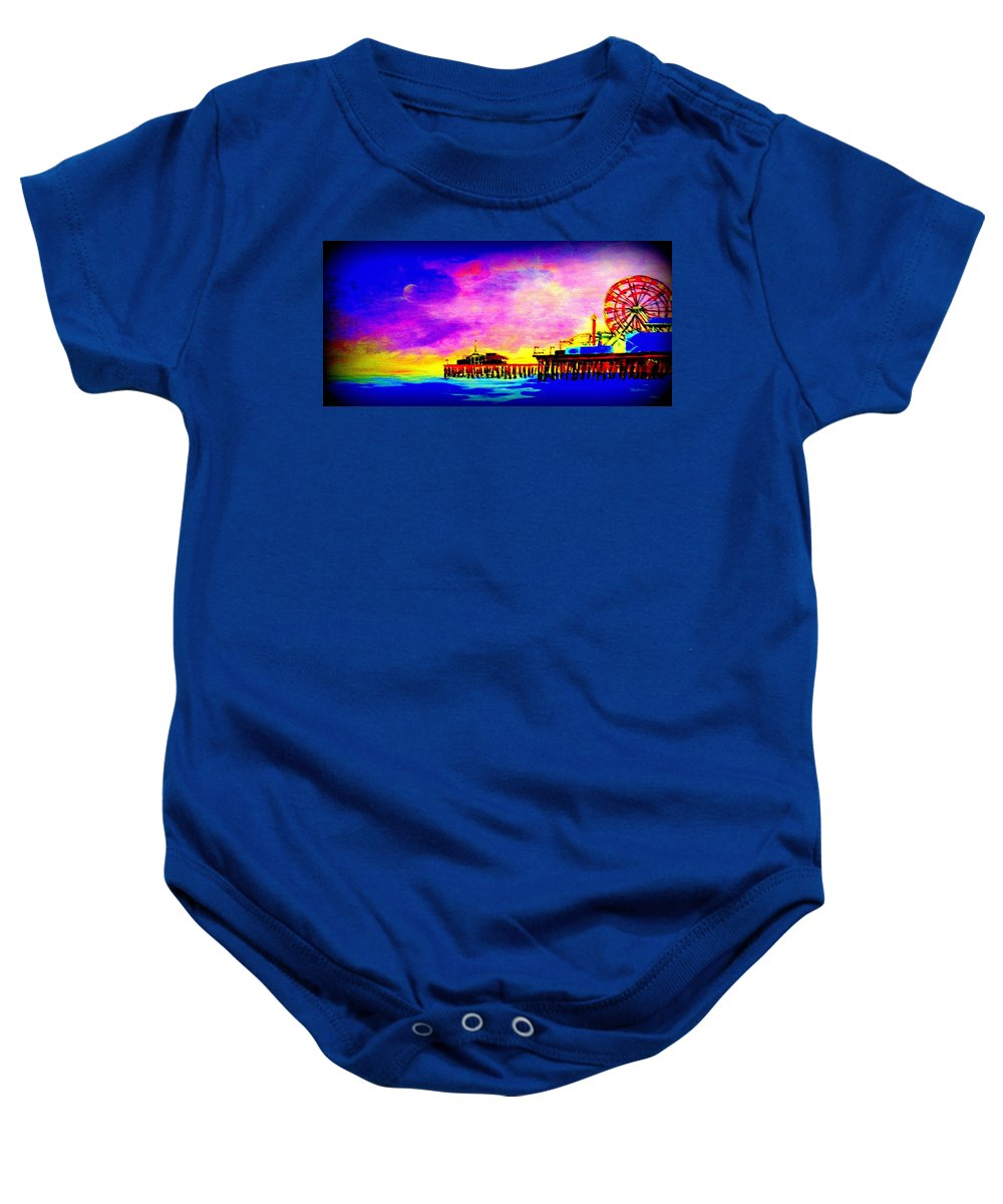 Santa Monica Baby Onesie featuring the painting Santa Monica Pier A Night by Irving Starr