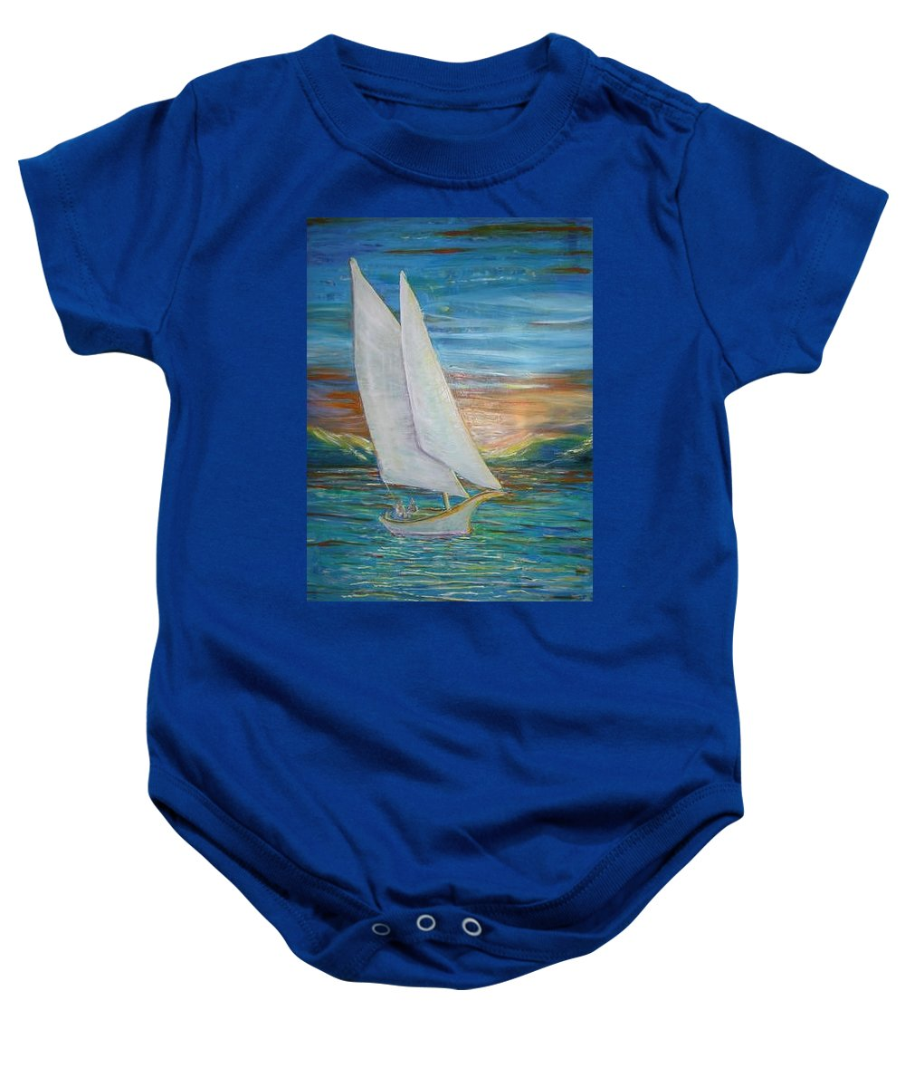 Sailboat Baby Onesie featuring the painting Saturday Sail by Regina Walsh