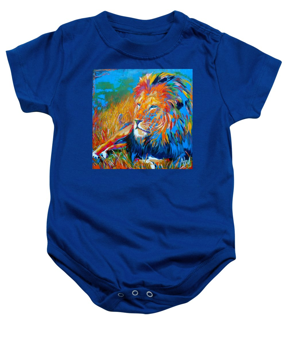 Lion Baby Onesie featuring the painting Savanna King by Angie Wright