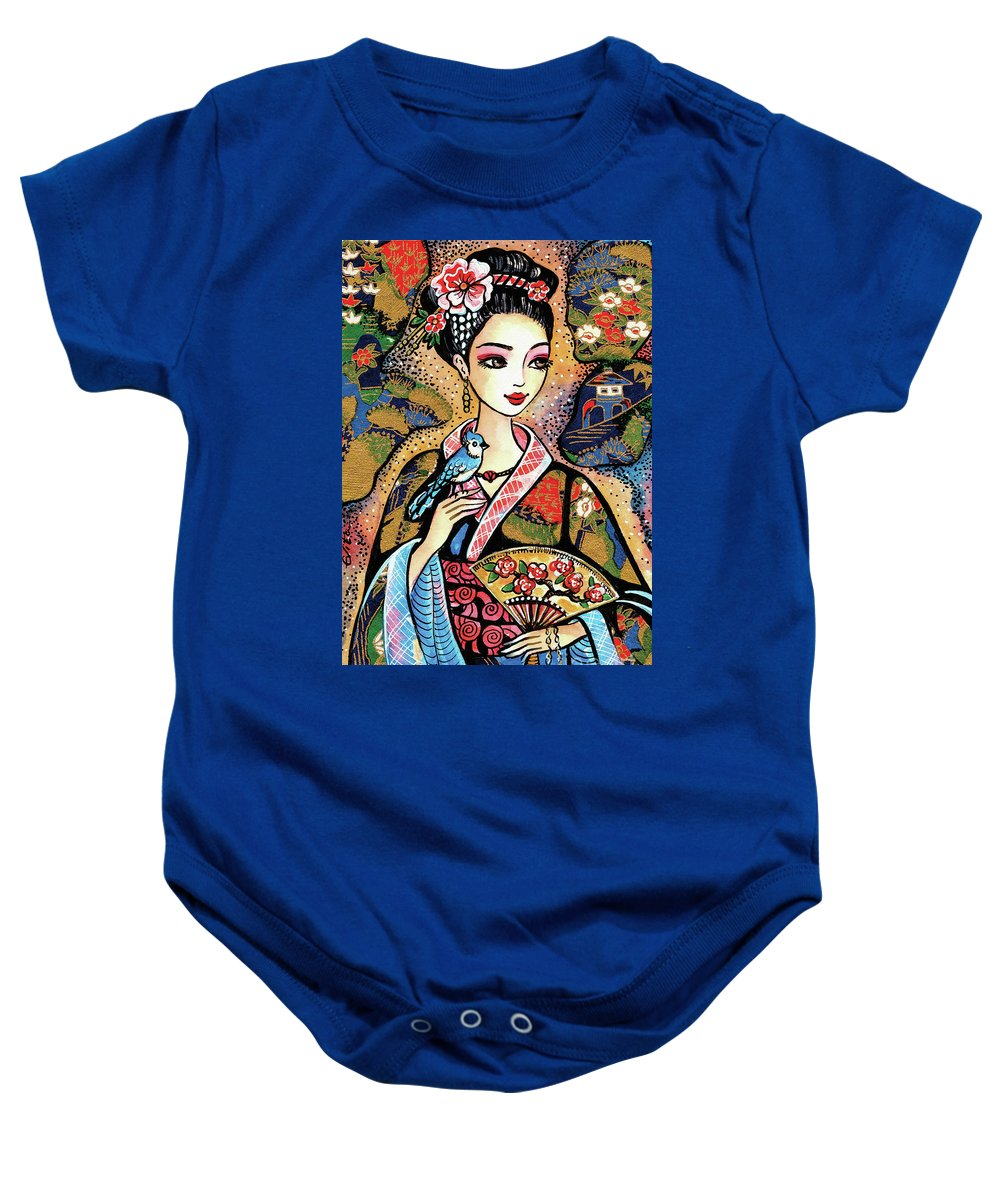 Woman And Bird Baby Onesie featuring the painting Sayuri by Eva Campbell