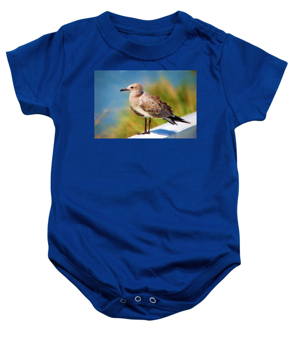 Gull Baby Onesie featuring the painting Sea Gull Of Boca Grande by Rich Leighton