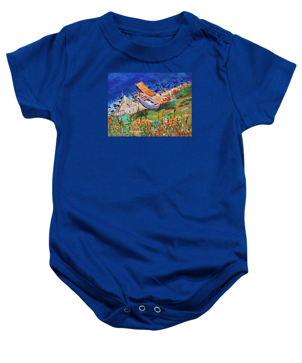 Seascape Baby Onesie featuring the painting Seacoast by Iliyan Bozhanov