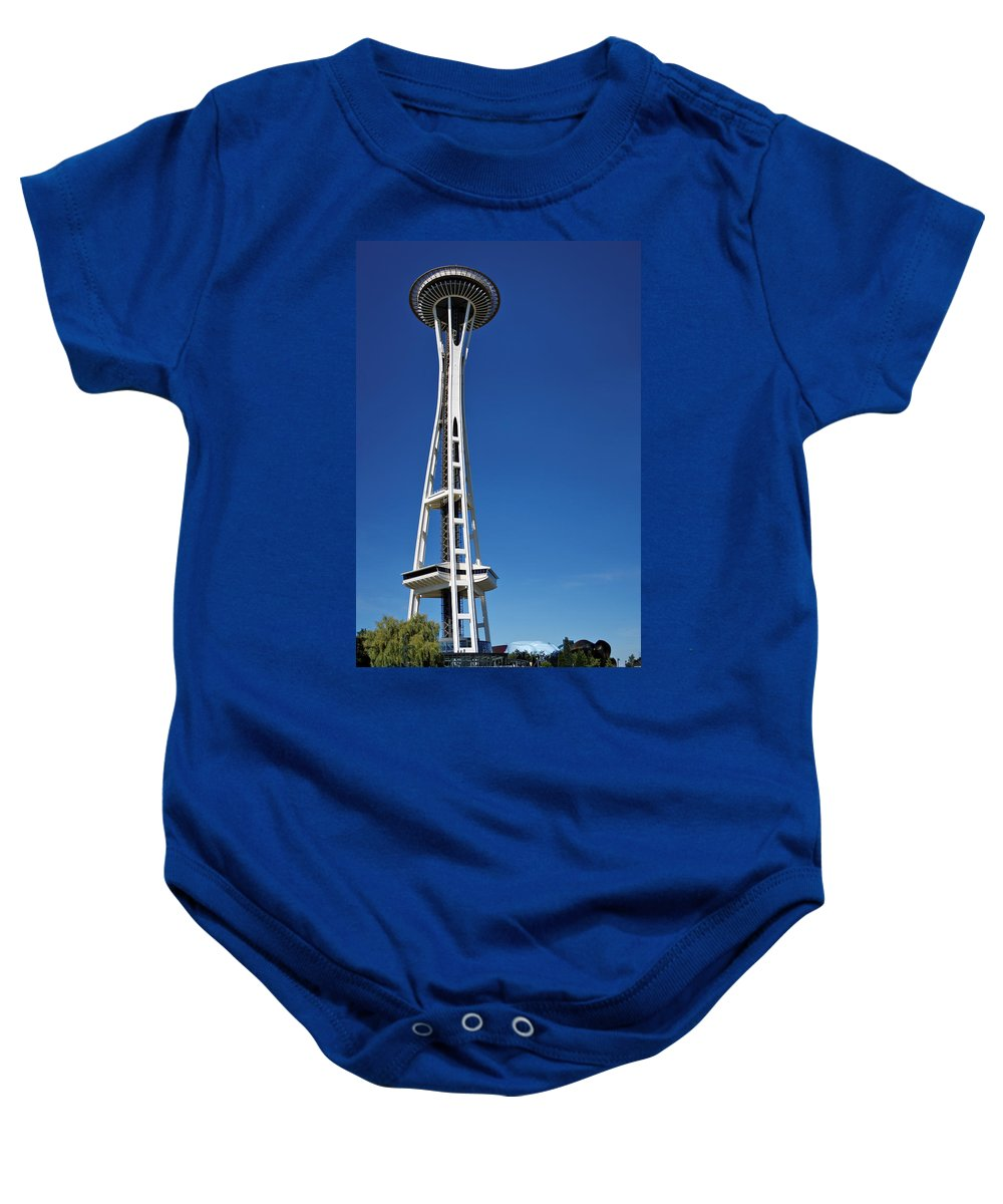 3scape Baby Onesie featuring the photograph Seattle Space Needle by Adam Romanowicz