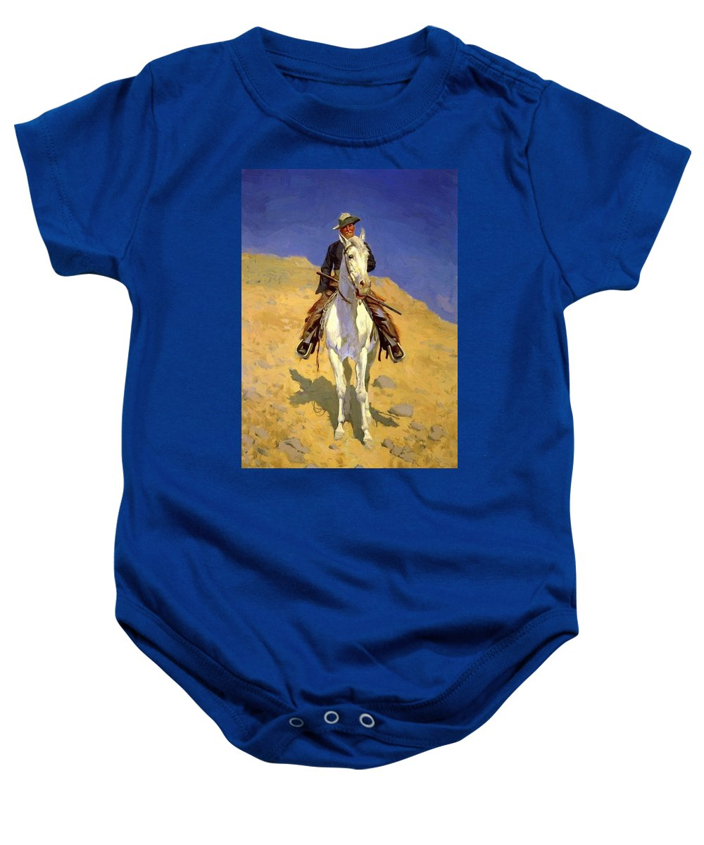 Self Baby Onesie featuring the painting Self Portrait On A Horse 1890 by Remington Frederic