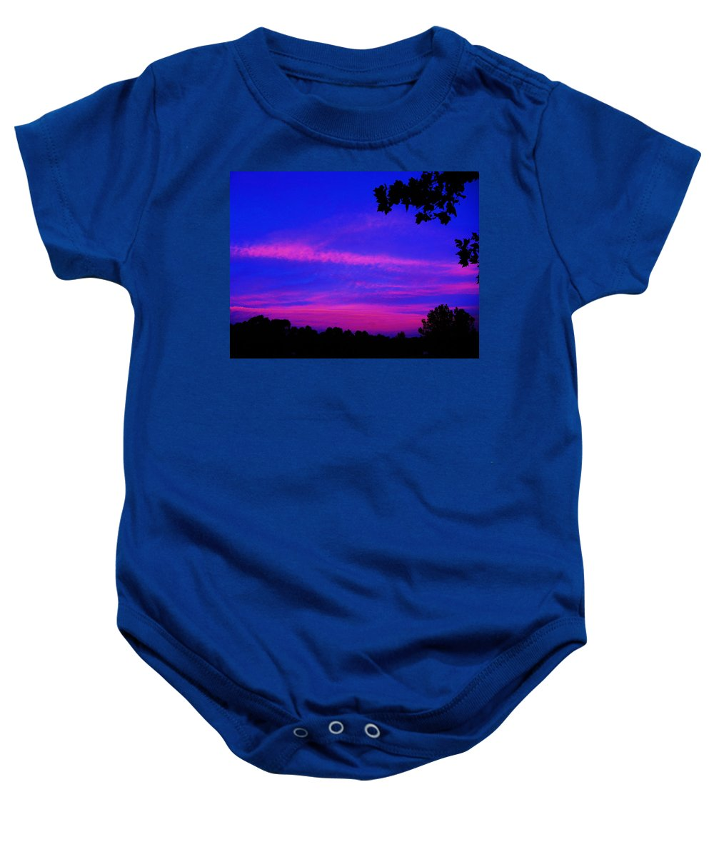 Sunrise Baby Onesie featuring the photograph Serene Dawn by Mark Blauhoefer