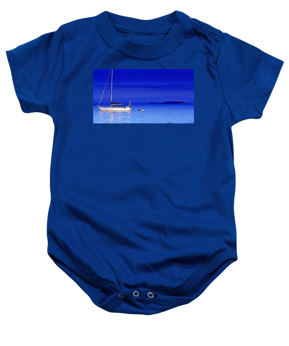 Transportation. Boats Baby Onesie featuring the photograph Serene Seas by Holly Kempe