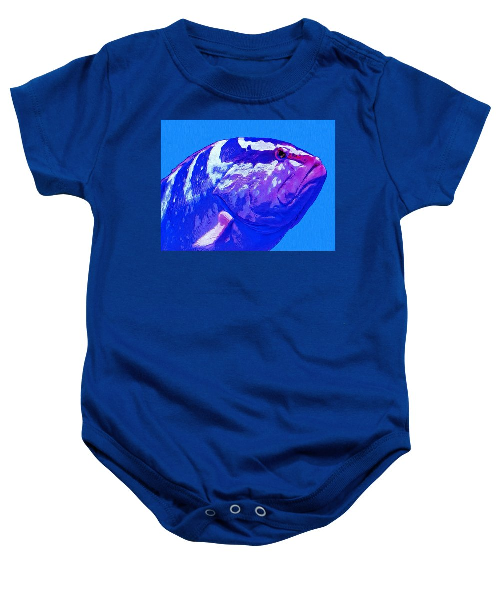 Fish Baby Onesie featuring the painting Seymour by Dominic Piperata