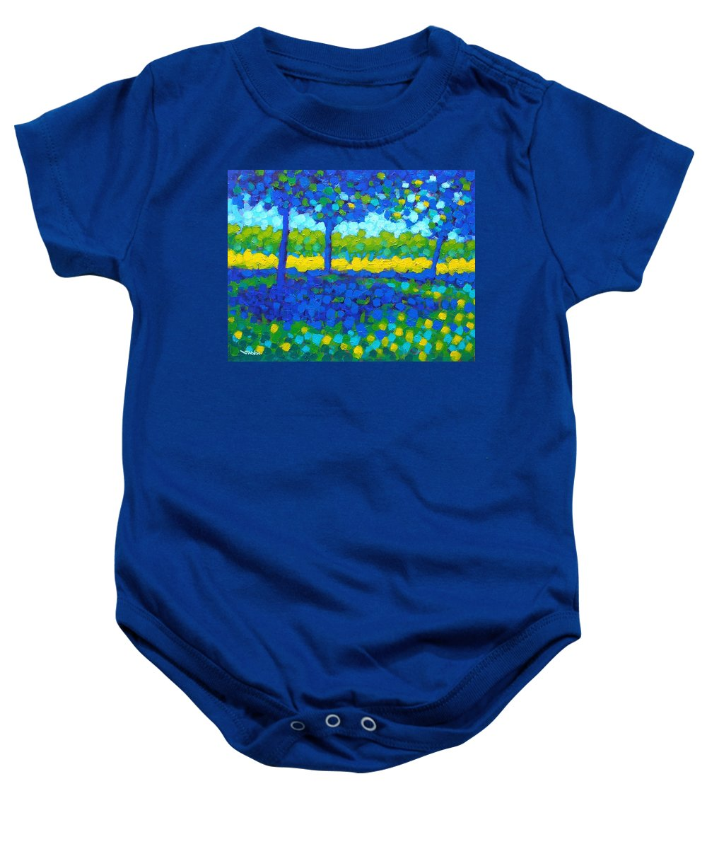 Irish Landscape Baby Onesie featuring the painting Shadow Trees by John Nolan