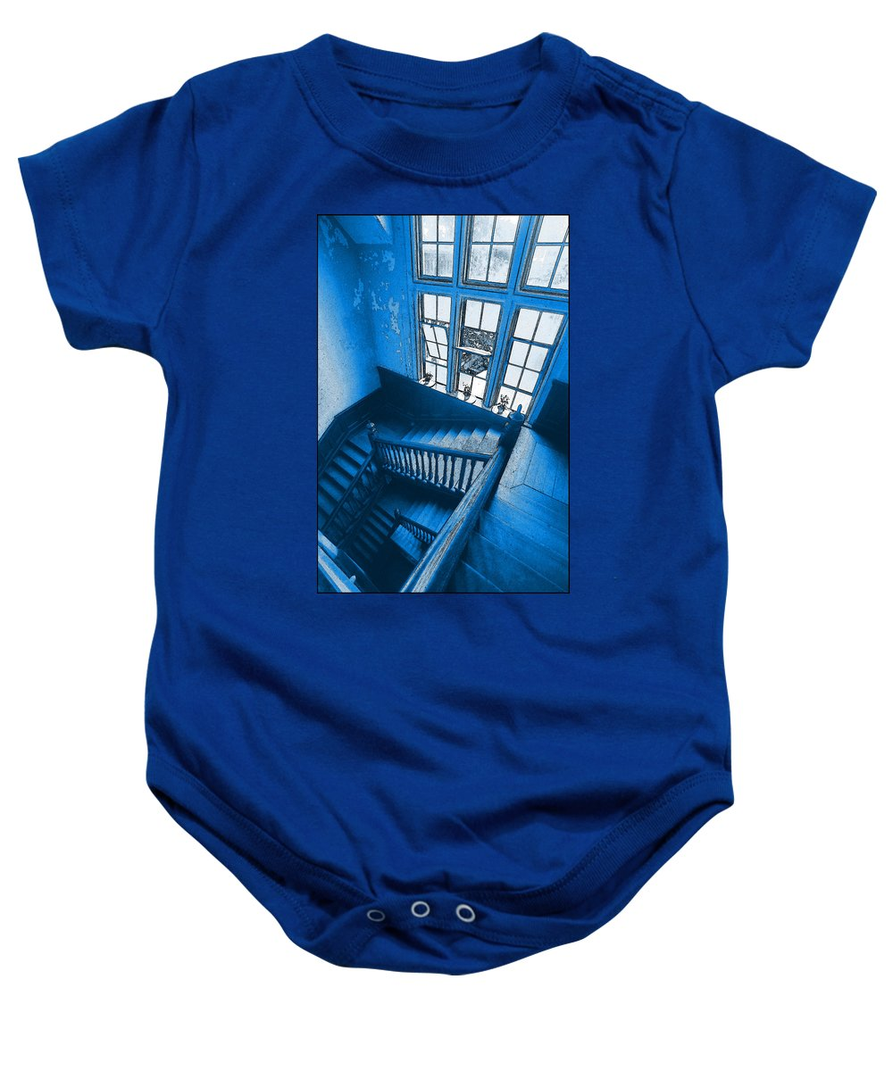 Cityscape Baby Onesie featuring the photograph Shanghai Staircase by Steven Hlavac