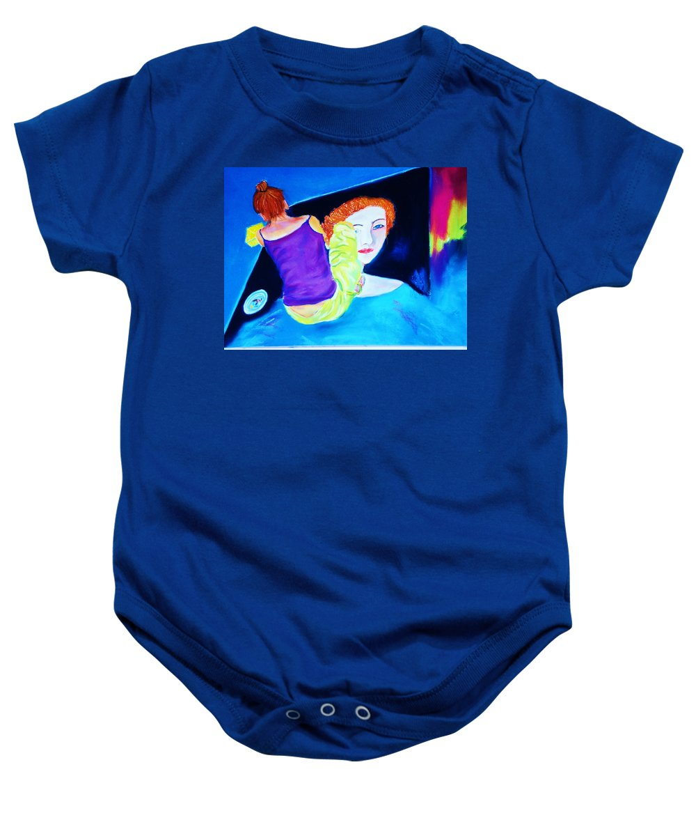 Painting Within A Painting Baby Onesie featuring the print Sidewalk Artist II by Melinda Etzold