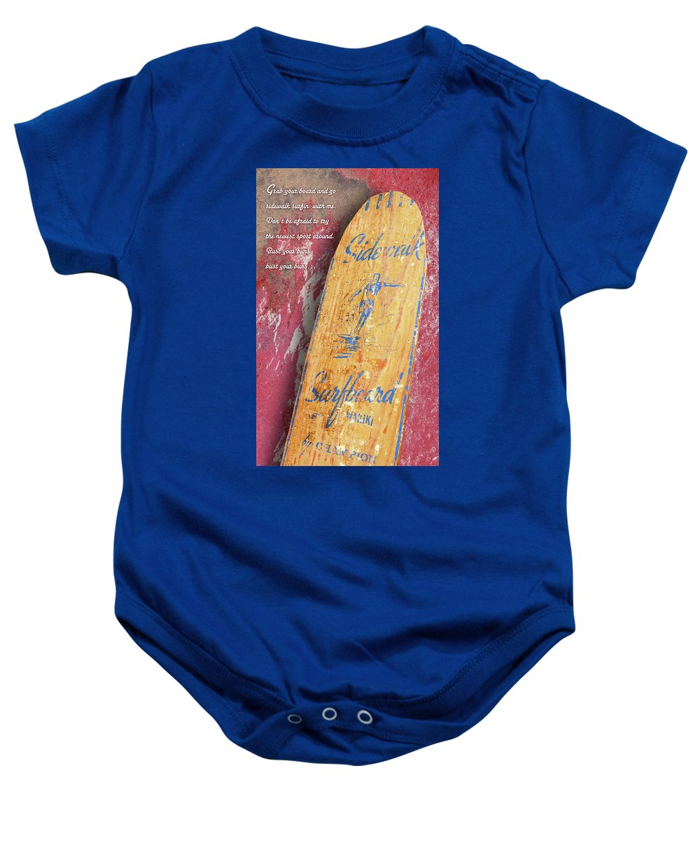 Sidewalk Surfboard Baby Onesie featuring the photograph Sidewalk Surfboard by Ron Regalado