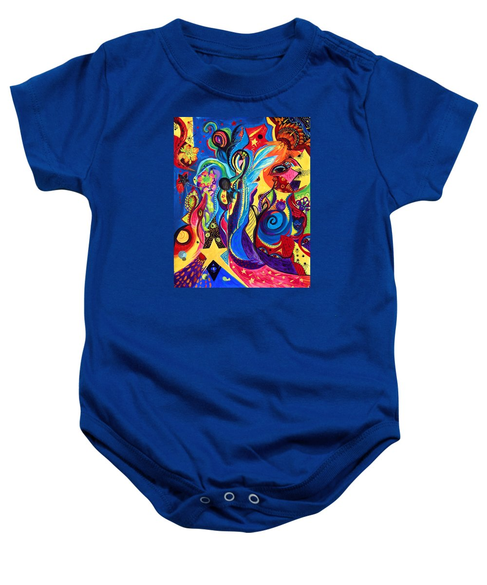 Abstract Baby Onesie featuring the painting Guardian Angel by Marina Petro