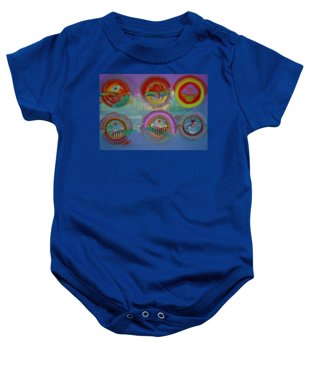Landscape Baby Onesie featuring the painting Six Visions Of Heaven by Charles Stuart