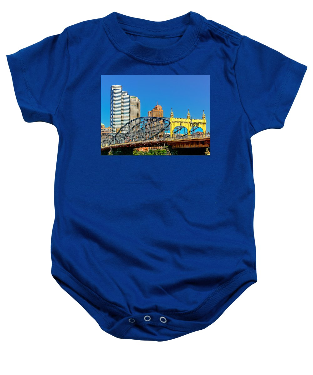 Allegheny Baby Onesie featuring the photograph Smithfield Street Bridge by Maria Coulson