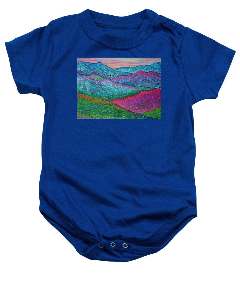 Oil Pastels Baby Onesie featuring the painting Smoky Mountain Abstract by Nancy Mueller