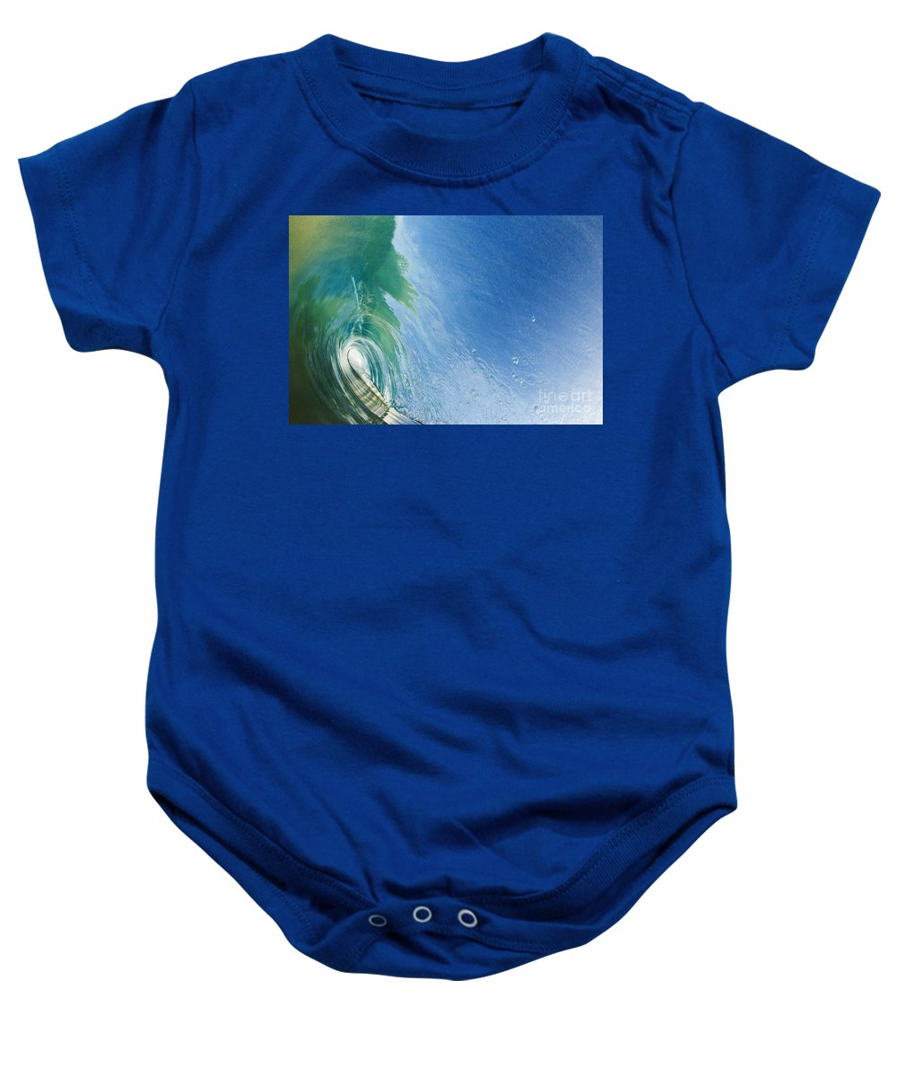 Amazing Baby Onesie featuring the photograph Smooth Wave Tube by MakenaStockMedia - Printscapes