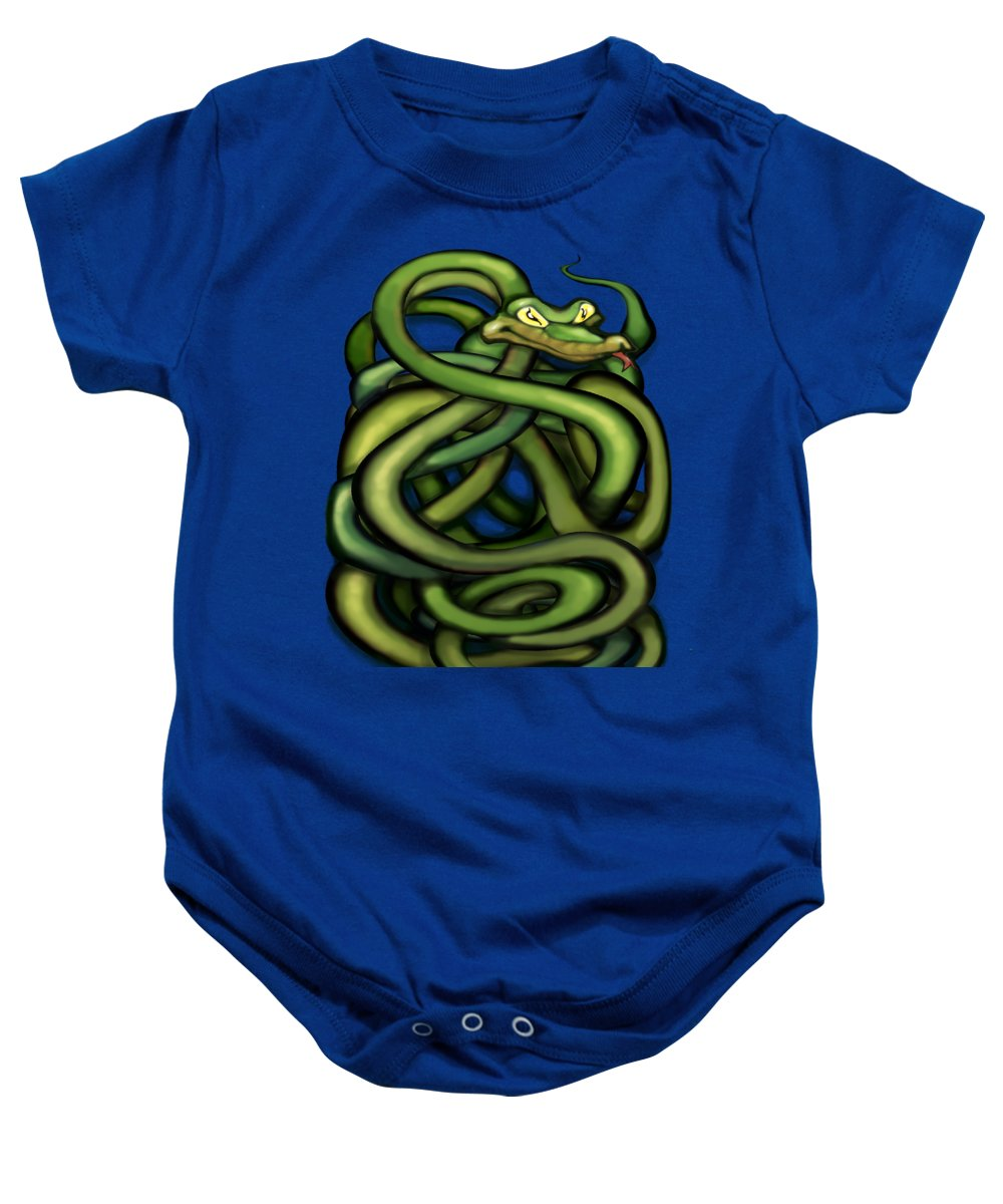 Snake Baby Onesie featuring the painting Snakes by Kevin Middleton