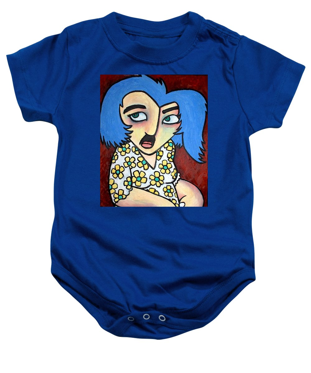 Portrait Baby Onesie featuring the painting Sneaker by Thomas Valentine