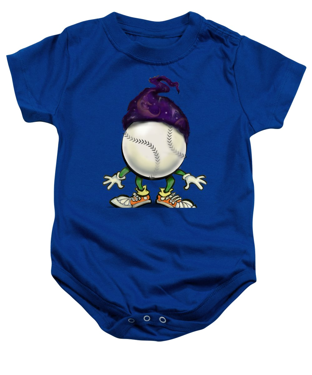 Softball Baby Onesie featuring the digital art Softball Wizard by Kevin Middleton