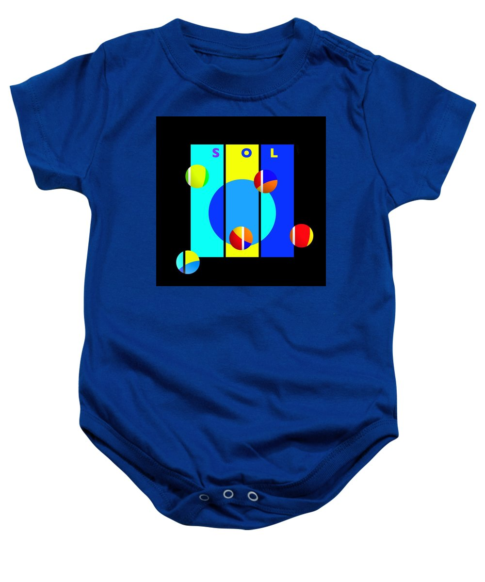 Primary Colors Baby Onesie featuring the painting Solar Activity by Charles Stuart