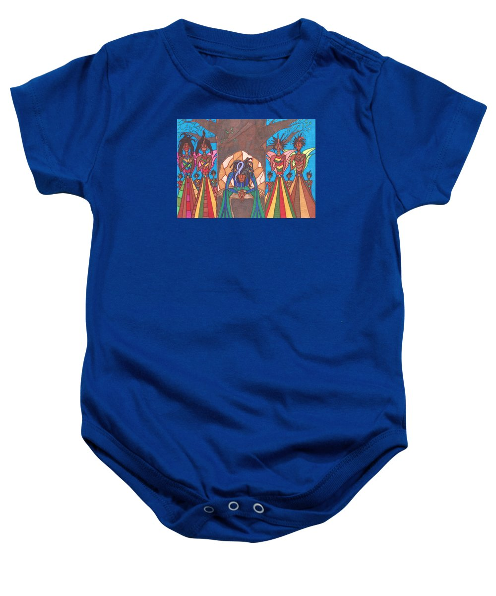 6ee0031e Baby Onesie featuring the drawing Soldiers Of Jah Army by Jerry Ray Orr