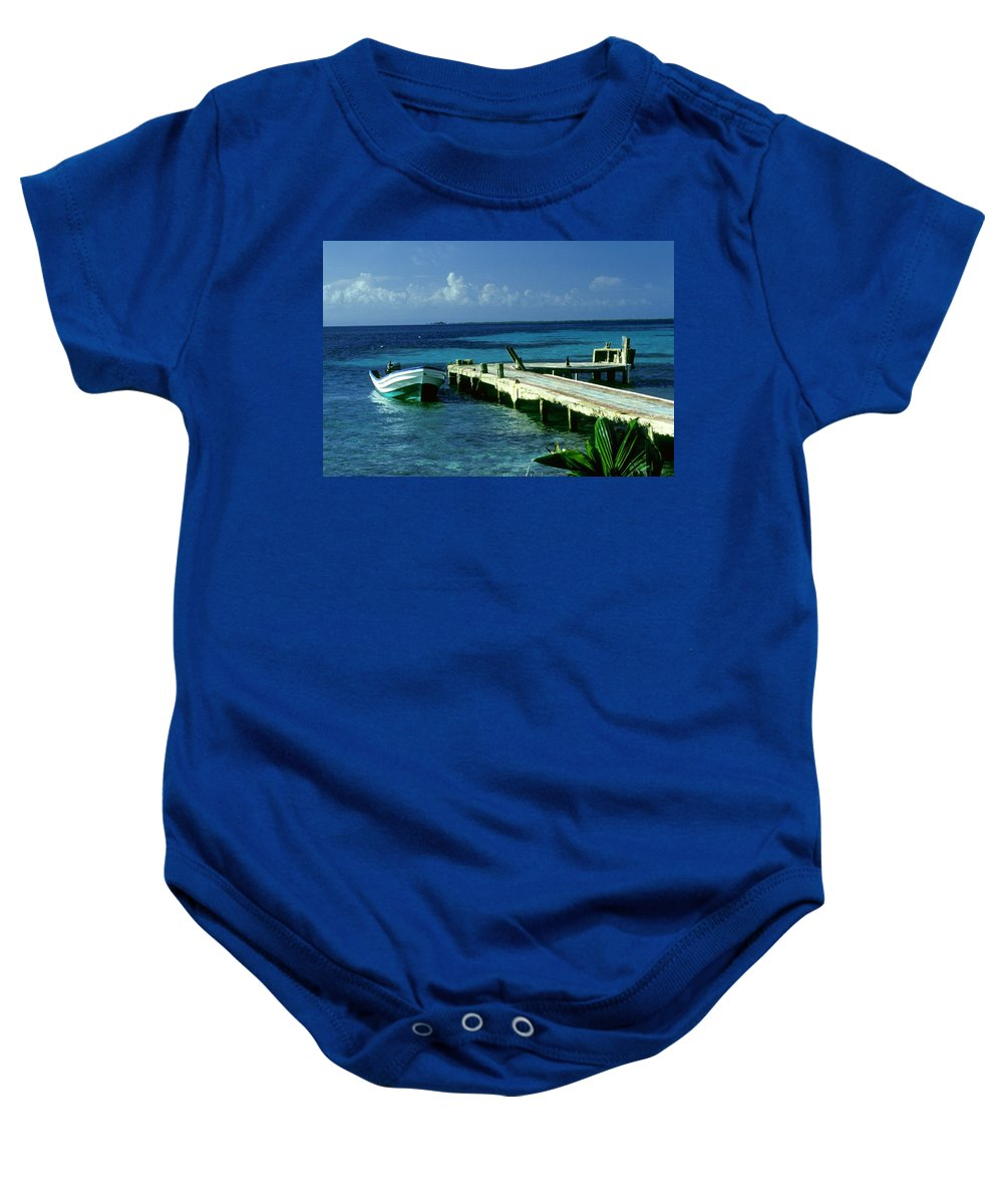 Boat Baby Onesie featuring the photograph South Caye Belize Boat Dock by Gary Wonning