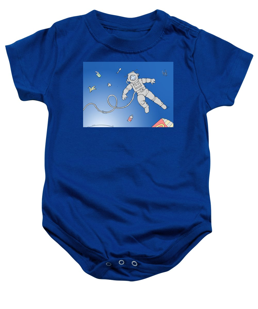 Spaceman Baby Onesie featuring the digital art Space by H James Hoff