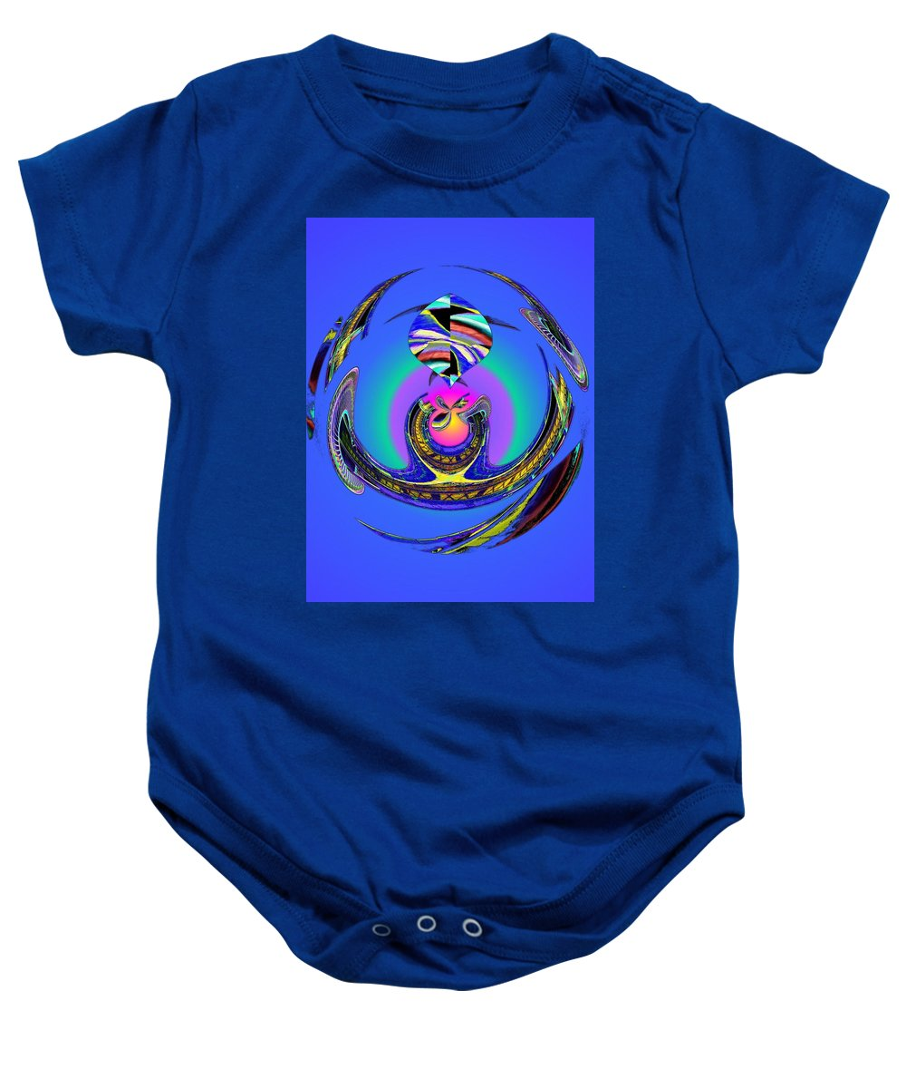 Seattle Baby Onesie featuring the digital art Space Needle And The Experience Music Project Two by Tim Allen