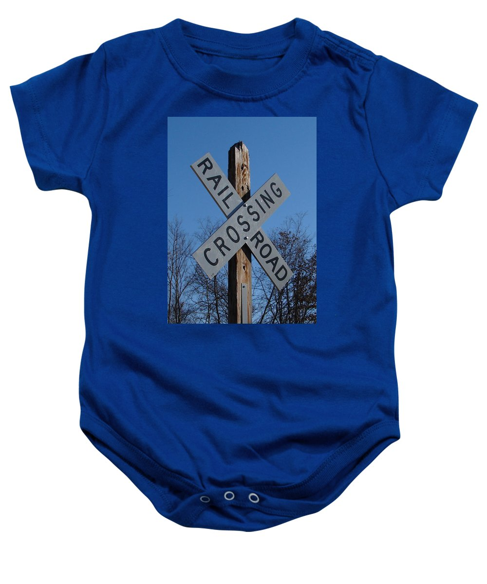 Sign Blue Sky Baby Onesie featuring the photograph Speaks For It by Luciana Seymour
