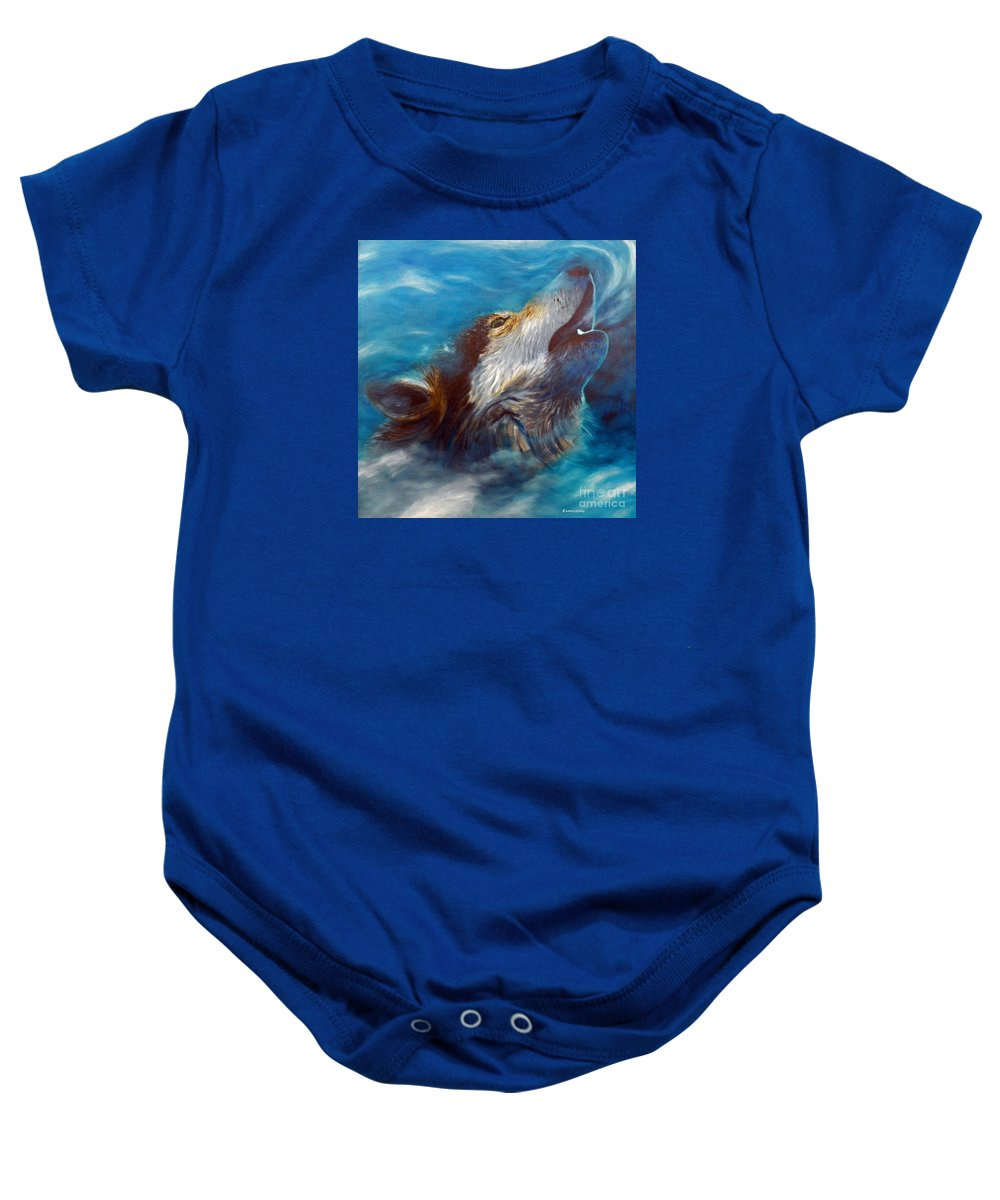 Wolf Baby Onesie featuring the painting Spirit Of The Wolf by Brian Commerford