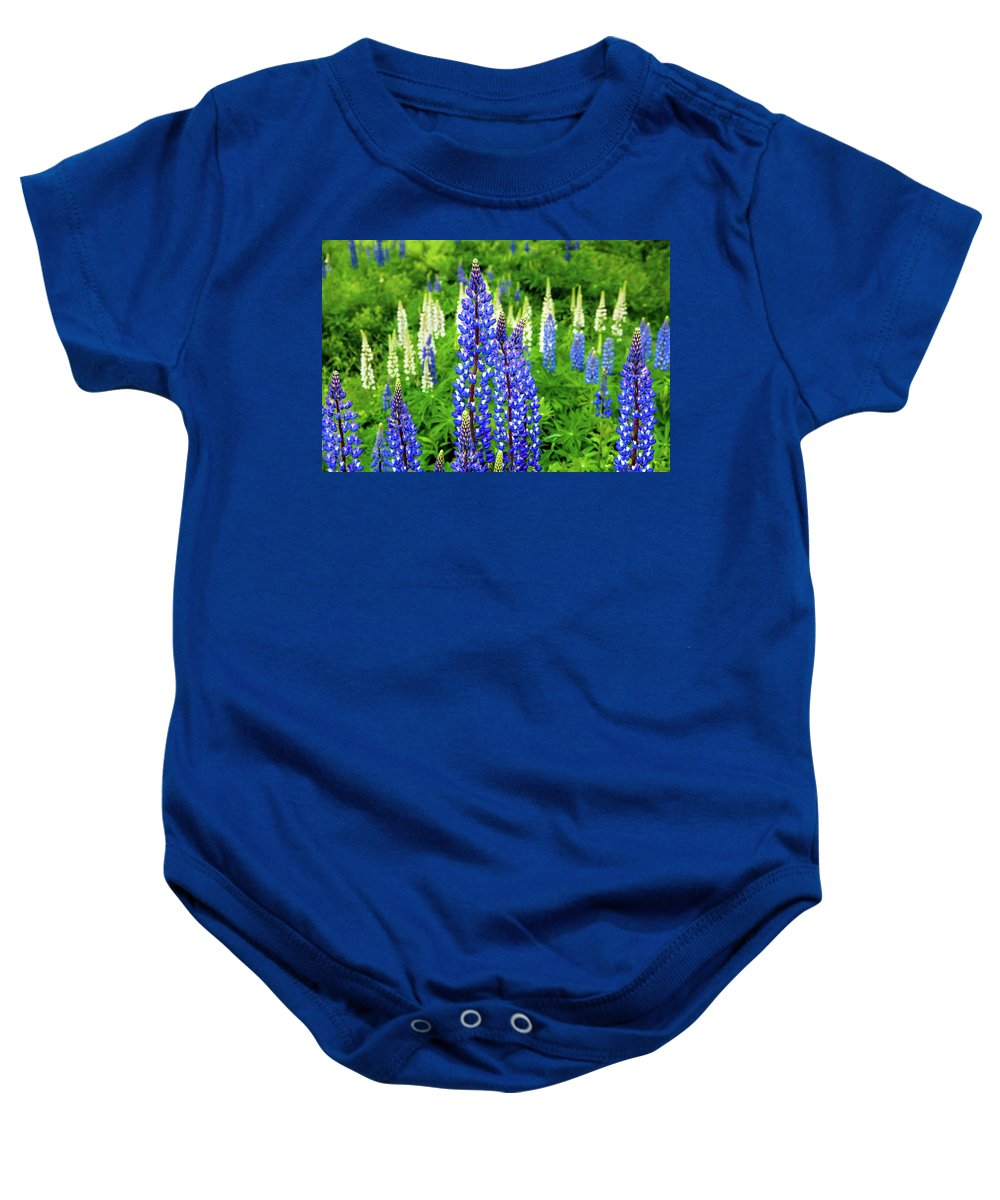 Franconia Notch Baby Onesie featuring the photograph Splash Of Blue by Greg Fortier