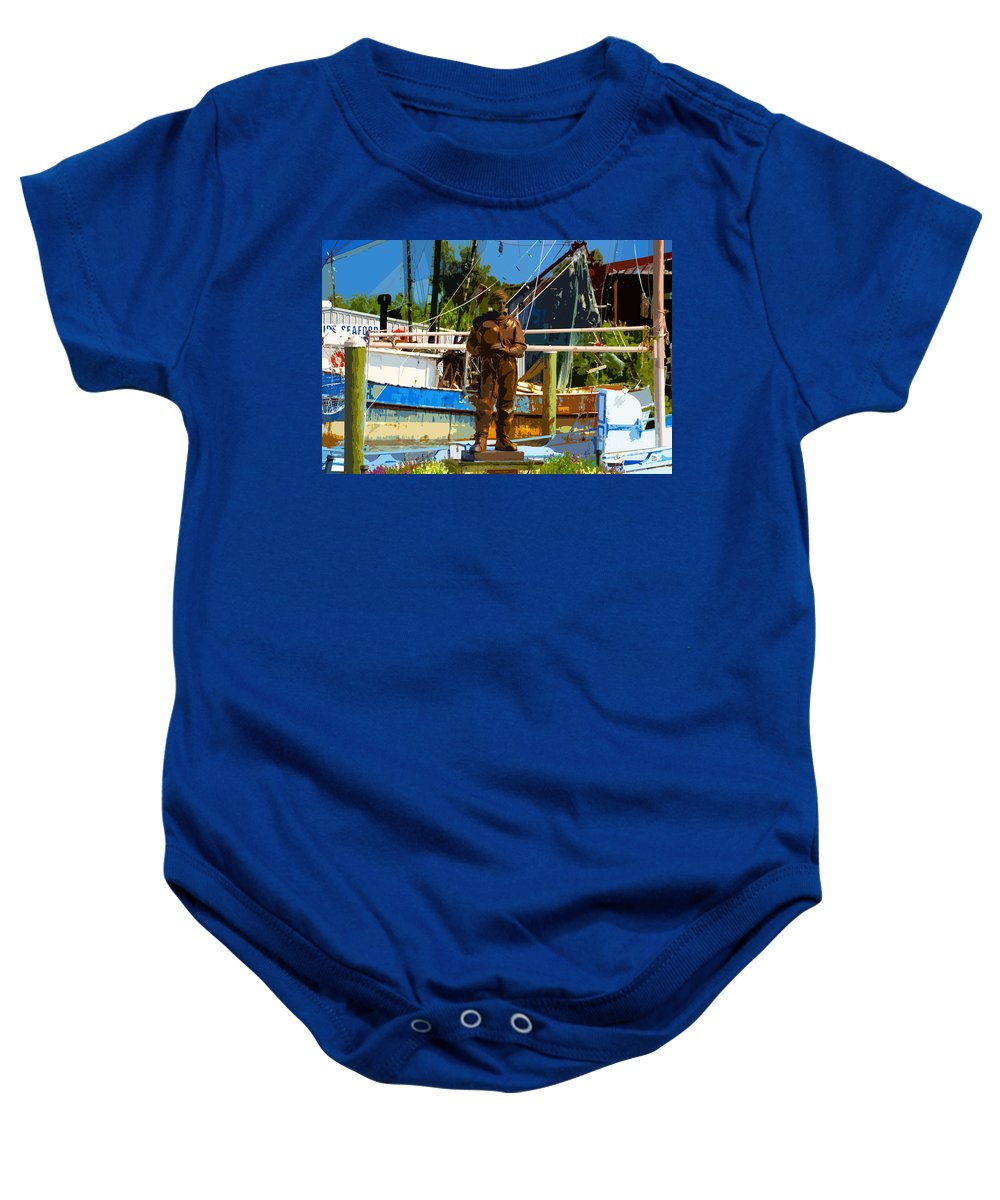 Sponge Diving Baby Onesie featuring the painting Sponge Diver by David Lee Thompson
