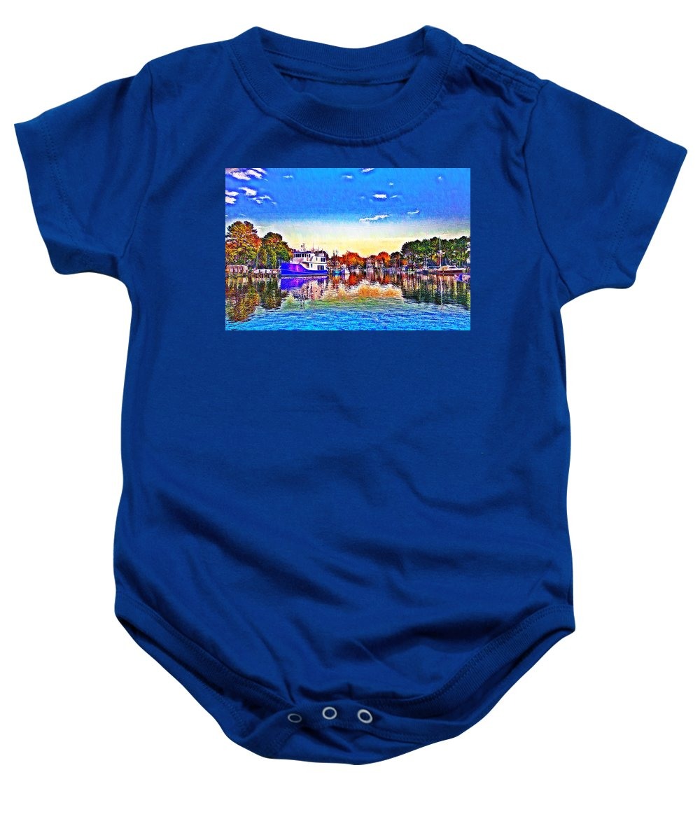 St. Michael's Baby Onesie featuring the photograph St. Michael's Marina by Bill Cannon