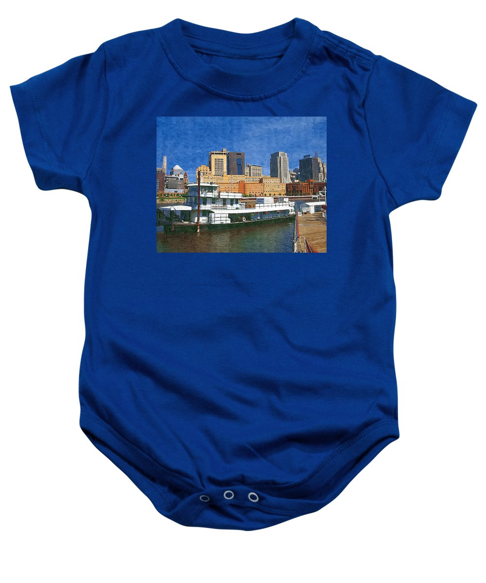 Boat Baby Onesie featuring the photograph St Paul On The Mississippi by Tom Reynen