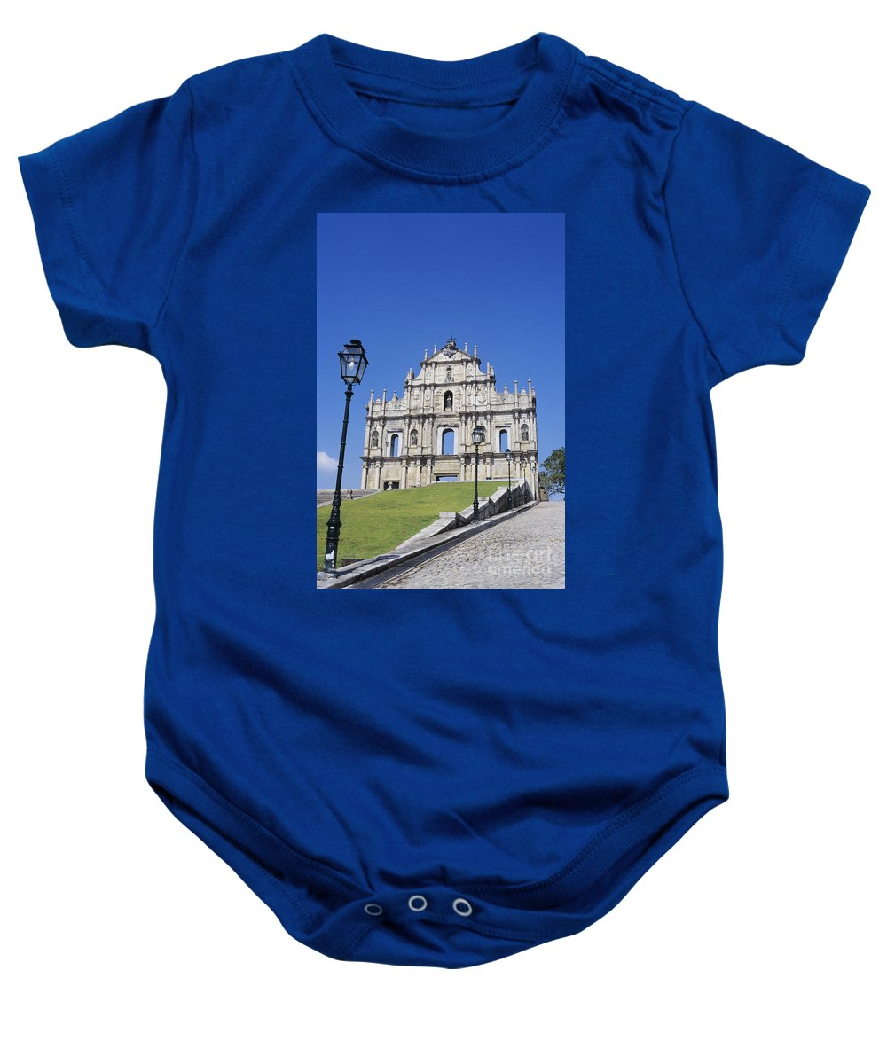 Ancient Baby Onesie featuring the photograph St. Pauls Cathedral Ruin by Gloria & Richard Maschmeyer - Printscapes