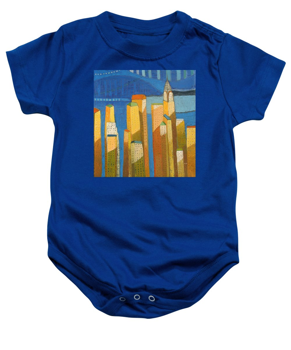 Abstract Cityscape Baby Onesie featuring the painting Standing High by Habib Ayat