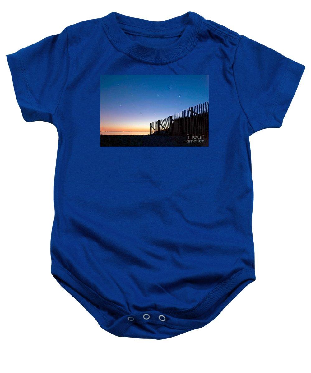 Wellfleet Baby Onesie featuring the photograph Star Trails In Wellfleet Cape Cod by Matt Suess