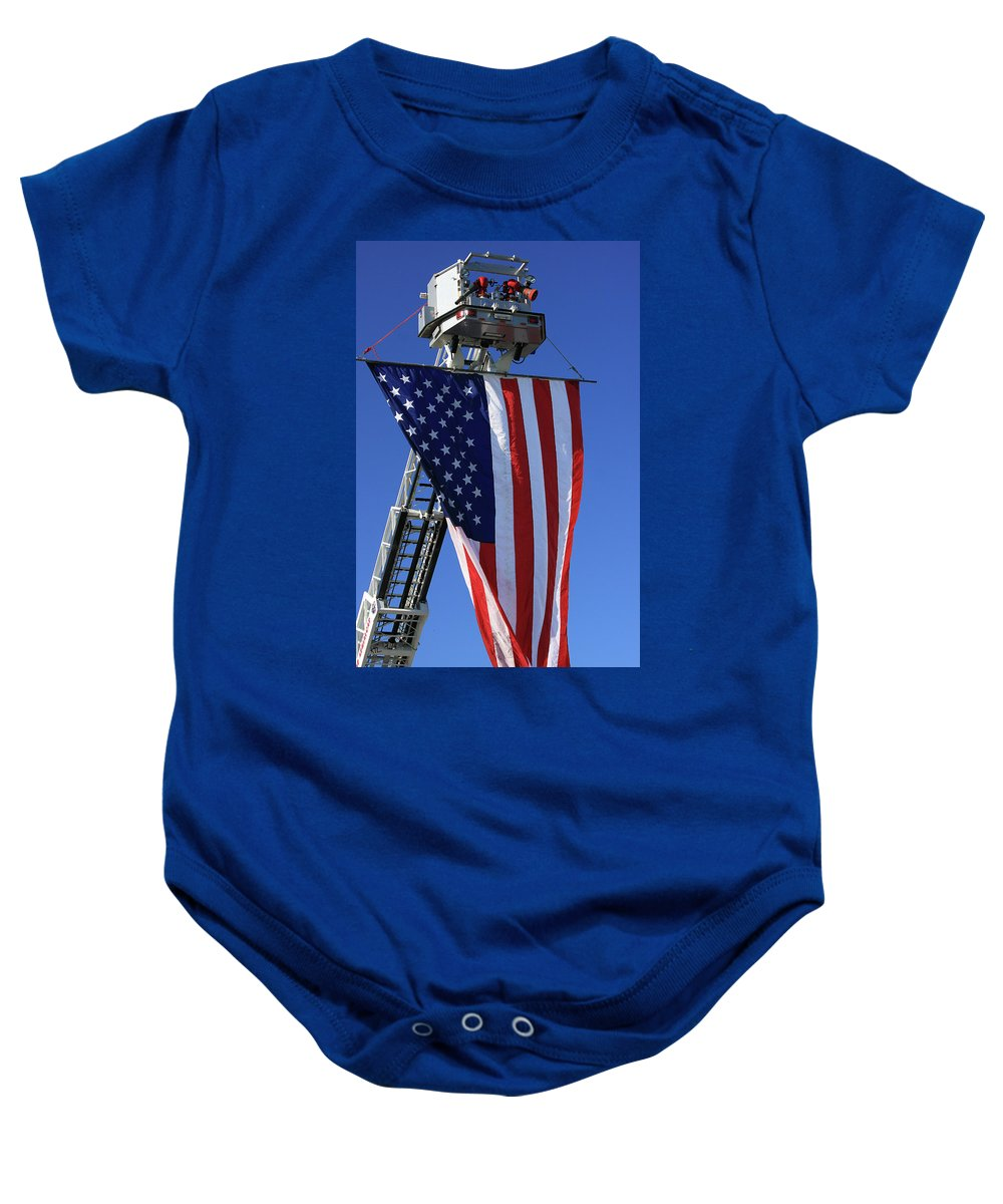 Americana Baby Onesie featuring the photograph Stars And Stripes by Karol Livote