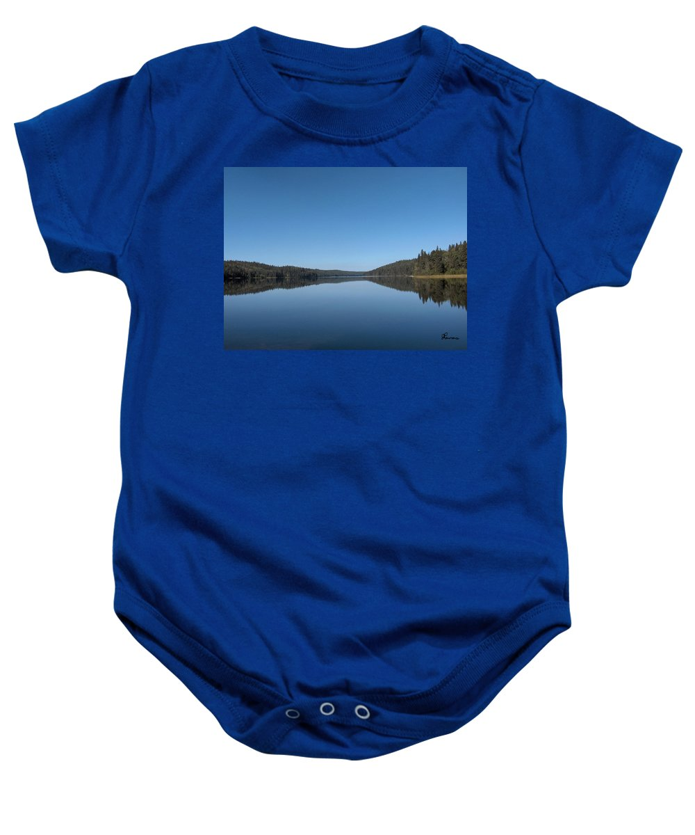 Lake Water Steepbanks Trees Still Scenery Forest Hills Baby Onesie featuring the photograph Steepbanks Lake by Andrea Lawrence