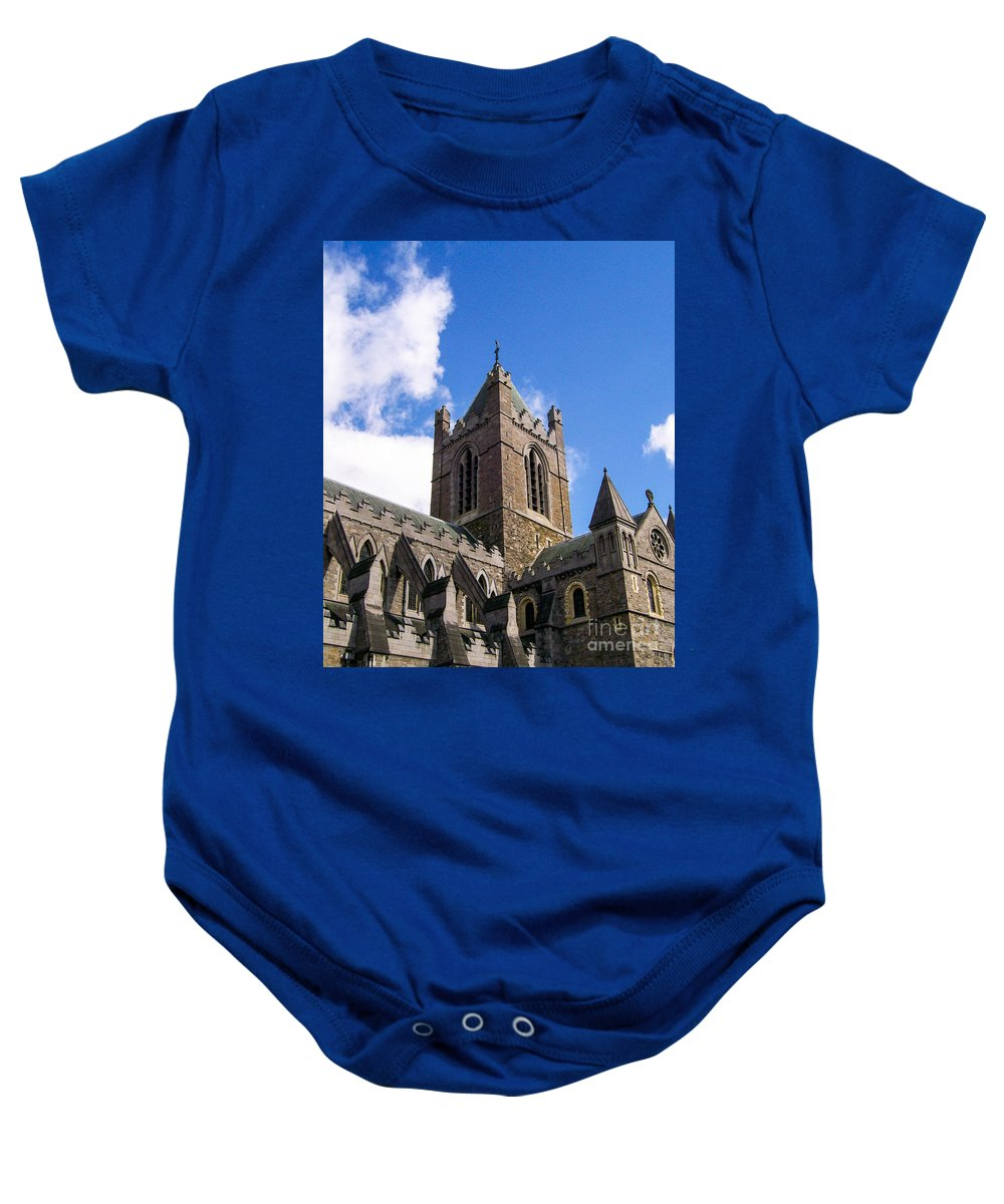 Church Baby Onesie featuring the photograph Steeple In The Clouds by Greg Plamp