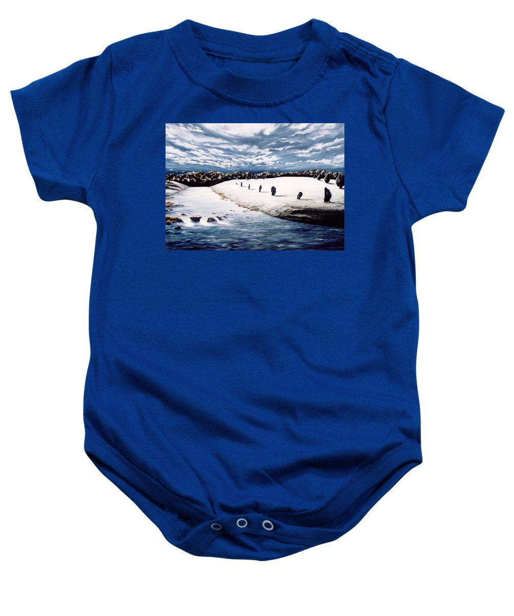 Stoneage Baby Onesie featuring the painting Stone Delusion by Mark Cawood