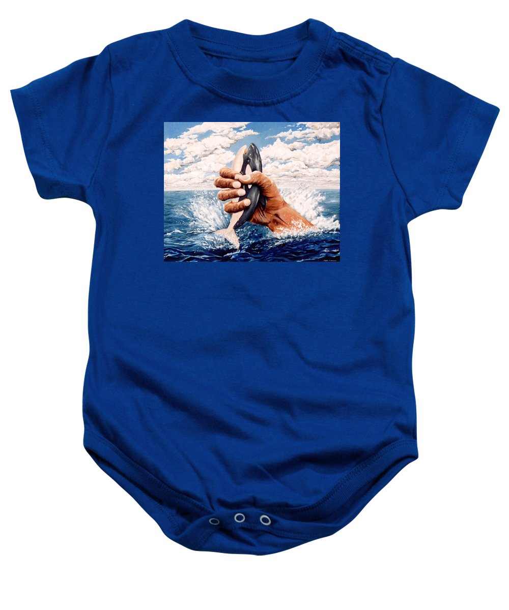 Surreal Baby Onesie featuring the painting Stop Whaling by Mark Cawood