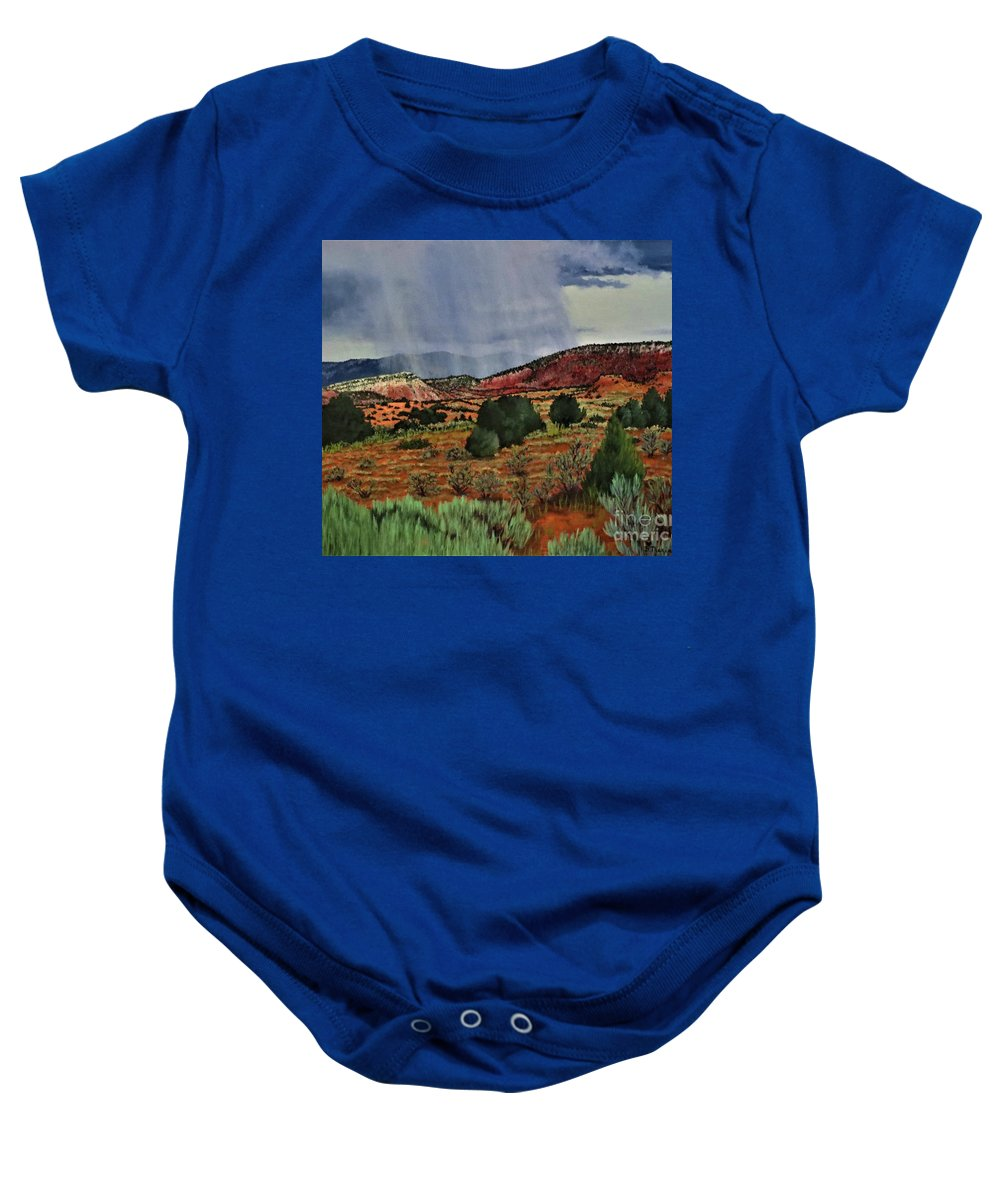 Storm Baby Onesie featuring the painting Storm Approaching The Ridge by Beverly Theriault