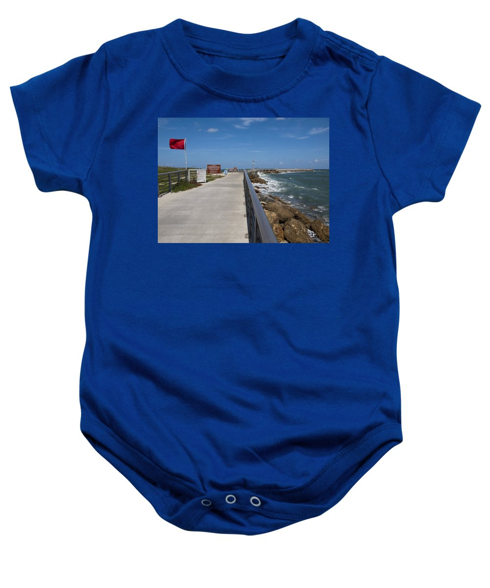 Storm Baby Onesie featuring the photograph Storm Warning On The Atlantic Ocean In Florida by Allan Hughes