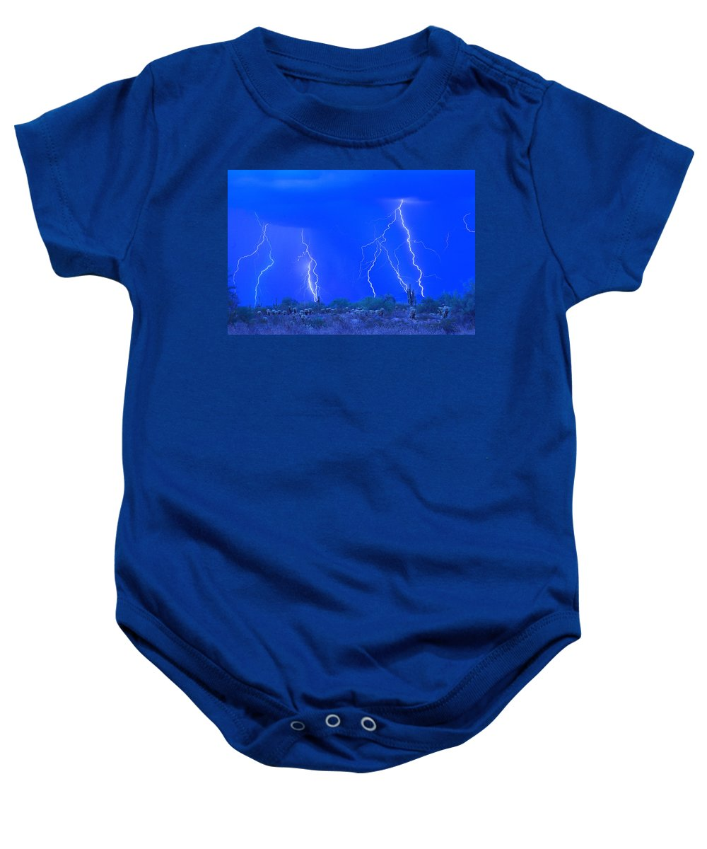 Lightning Baby Onesie featuring the photograph Stormy Desert by James BO Insogna