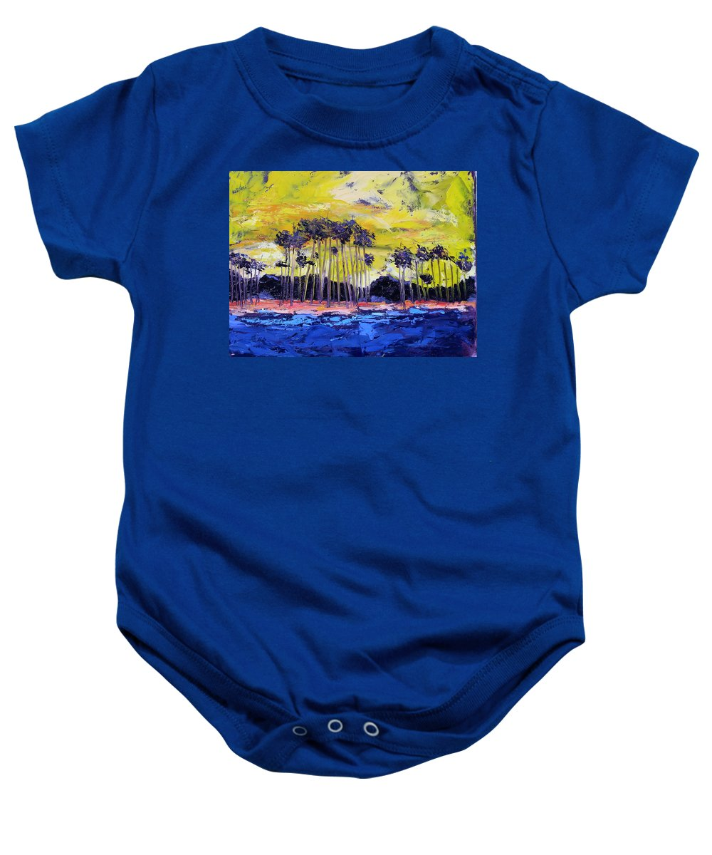Water Baby Onesie featuring the painting Stormy Shores by Patricia Caldwell
