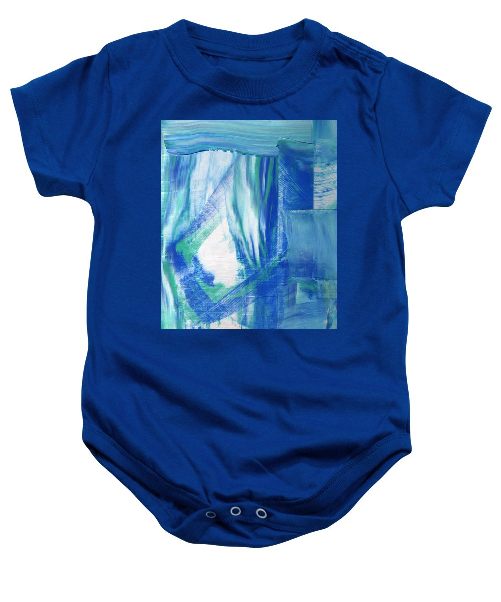 Abstract Baby Onesie featuring the painting Study In The Blues by Wayne Potrafka